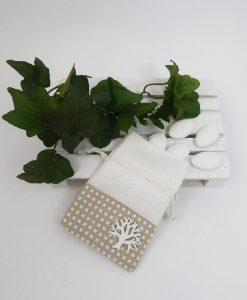 portaconfetti bianco e beige con albero della vita 2