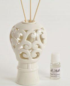 profumatore mongolfiera in porcellana bianca