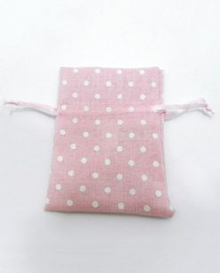 sacchetto in cotone rosa con pois bianchi