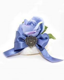 saponetta profumata con rosa viola ciondolo cuore linea essence