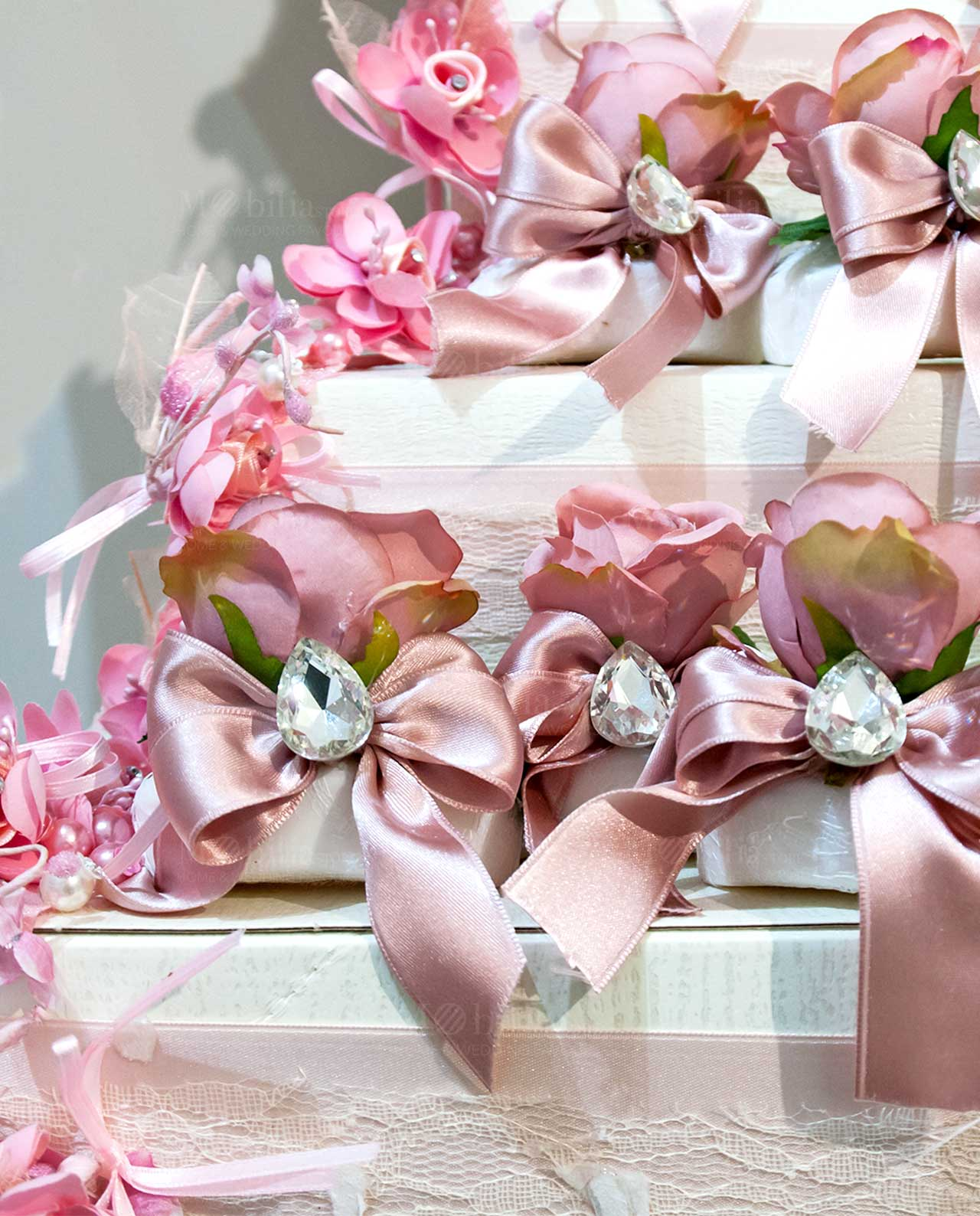 Super Saponetta con rosa in tessuto vari colori - Mobilia Store Home JI24