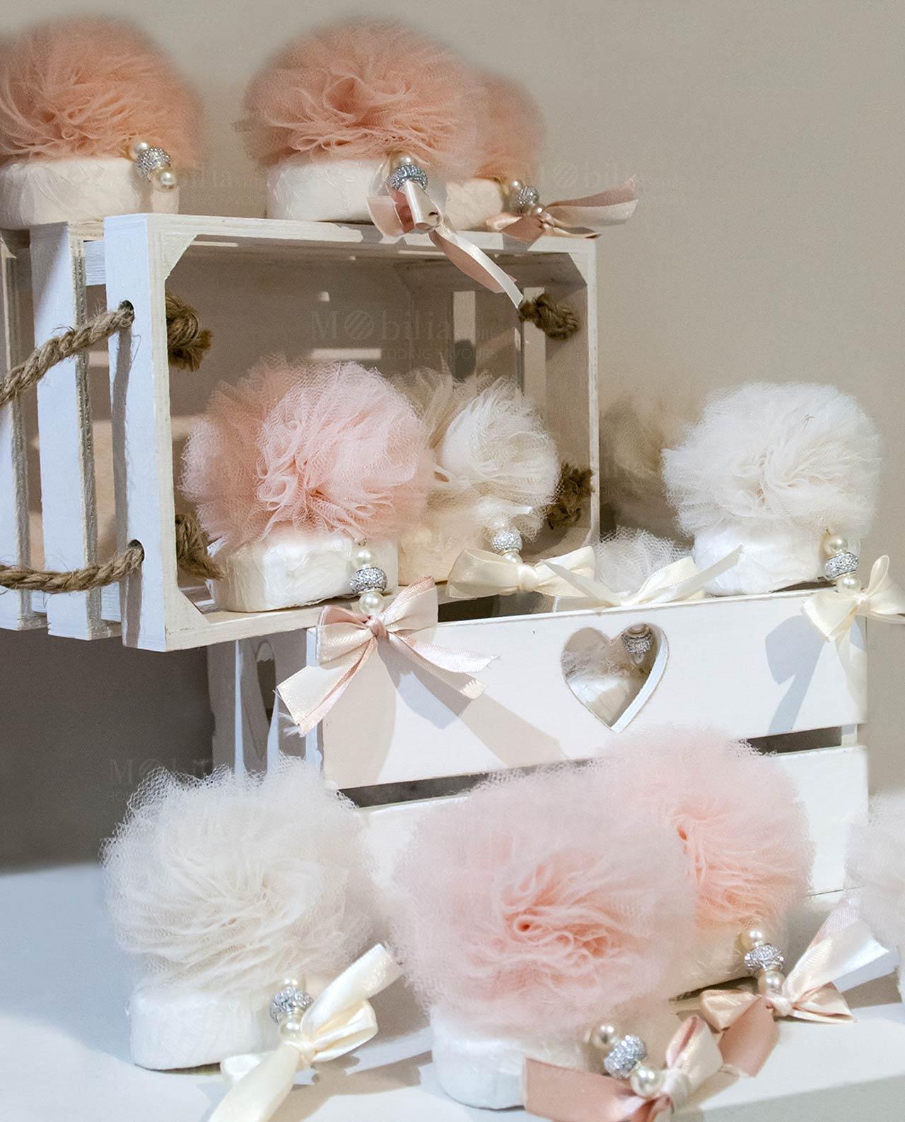 Estremamente Saponetta con pon pon tulle rosa e avorio - Mobilia Store Home SL82