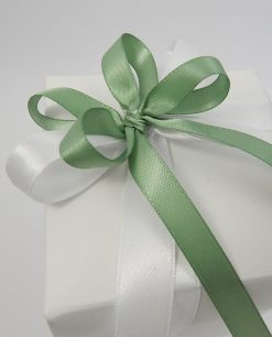 scatola con doppio fiocco verde e bianco 1