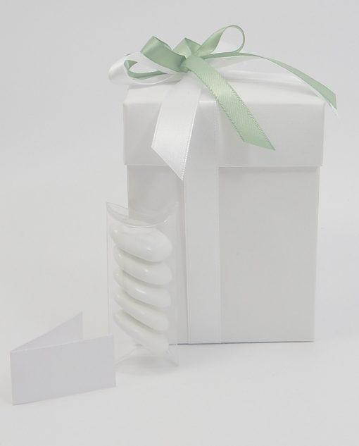 scatola con fiocco bianco e verde grande 1