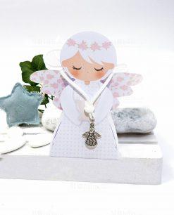 scatolina portaconfetti angelo femmina con ciondolo