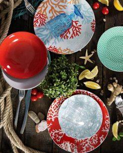 servizio piatti corallo