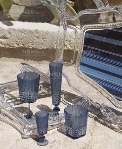 set di bicchieri blu chiczen baci milano