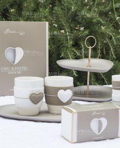 tazze cuore in porcellana bianca e tortora