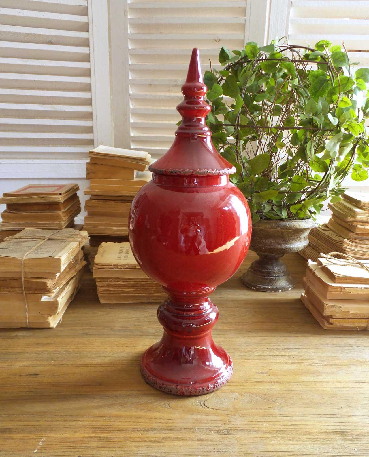 Vaso antico potiche con coperchio in ceramica rossa for Vaso attico