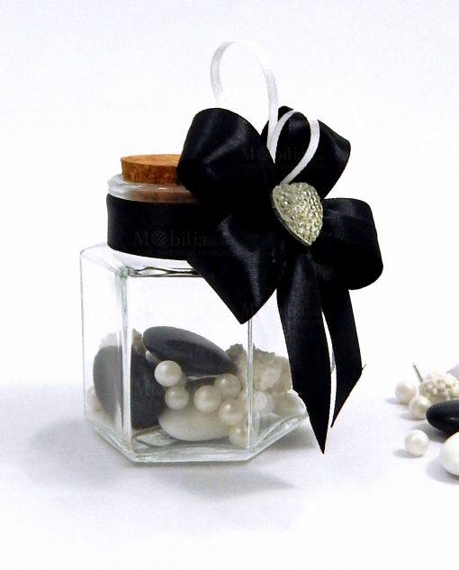 bomboniera barattolo in vetro con cuore strass