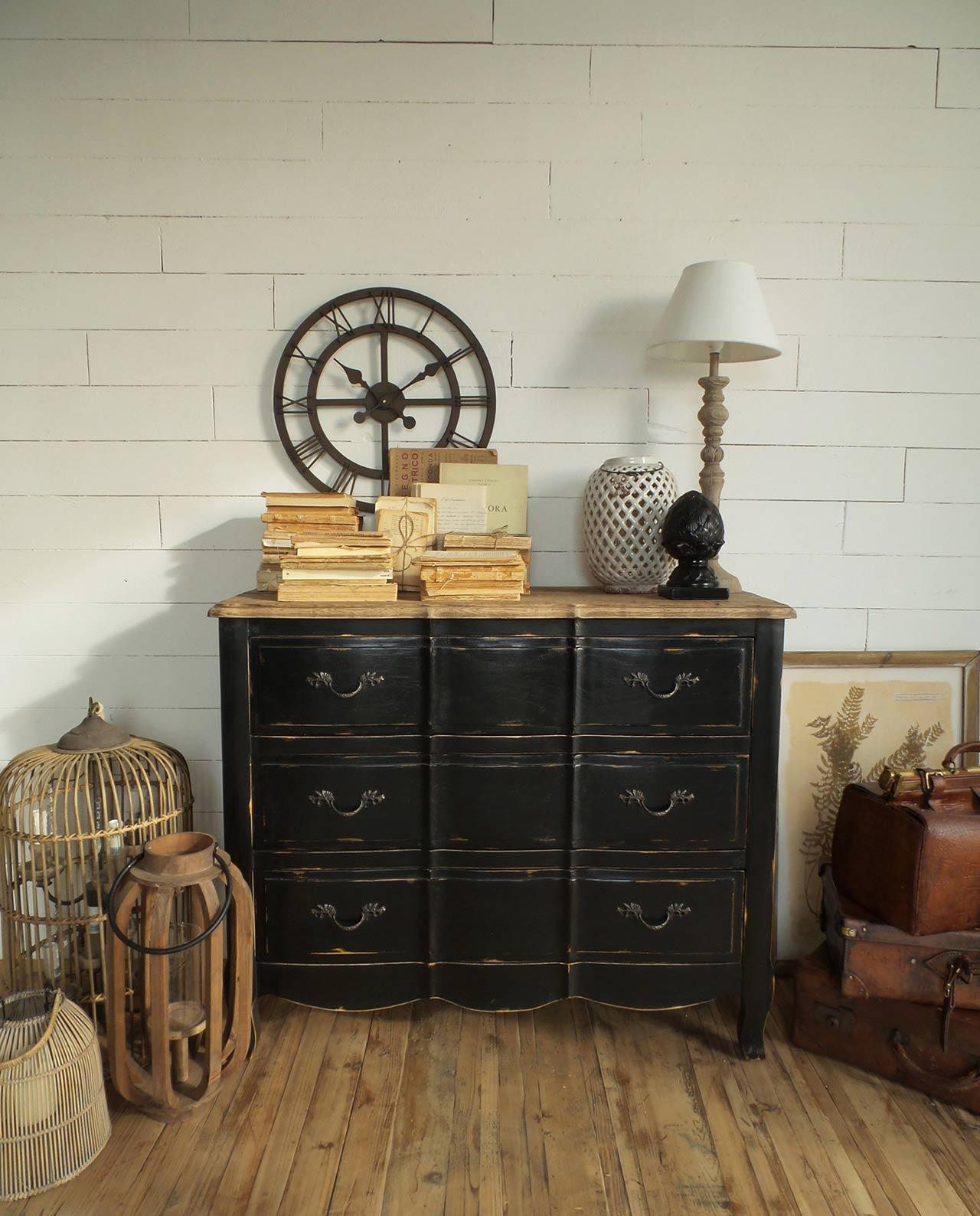 Cassettiera 3 cassetti in legno nero vintage mobilia for Mobilia recensioni