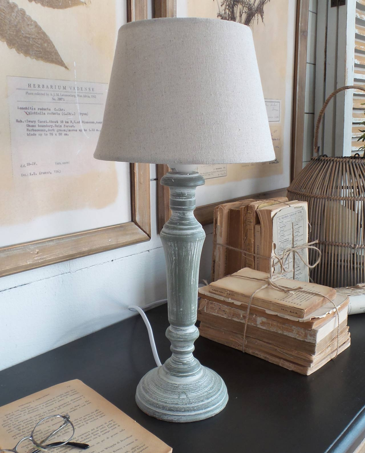 Lampade da tavolo country in legno anticato grigio set 2 pezzi mobilia store home favours - Lampade da tavolo in legno ...