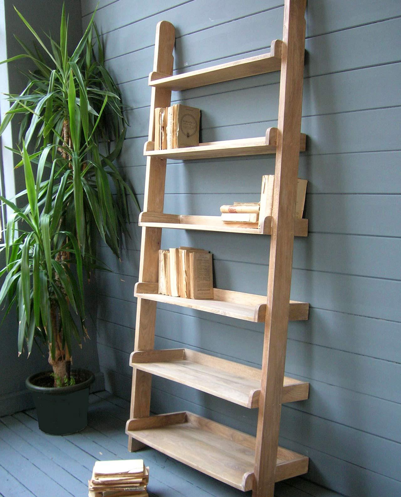 Libreria a scaletta in legno naturale mobilia store home favours - Libreria a scaletta ...