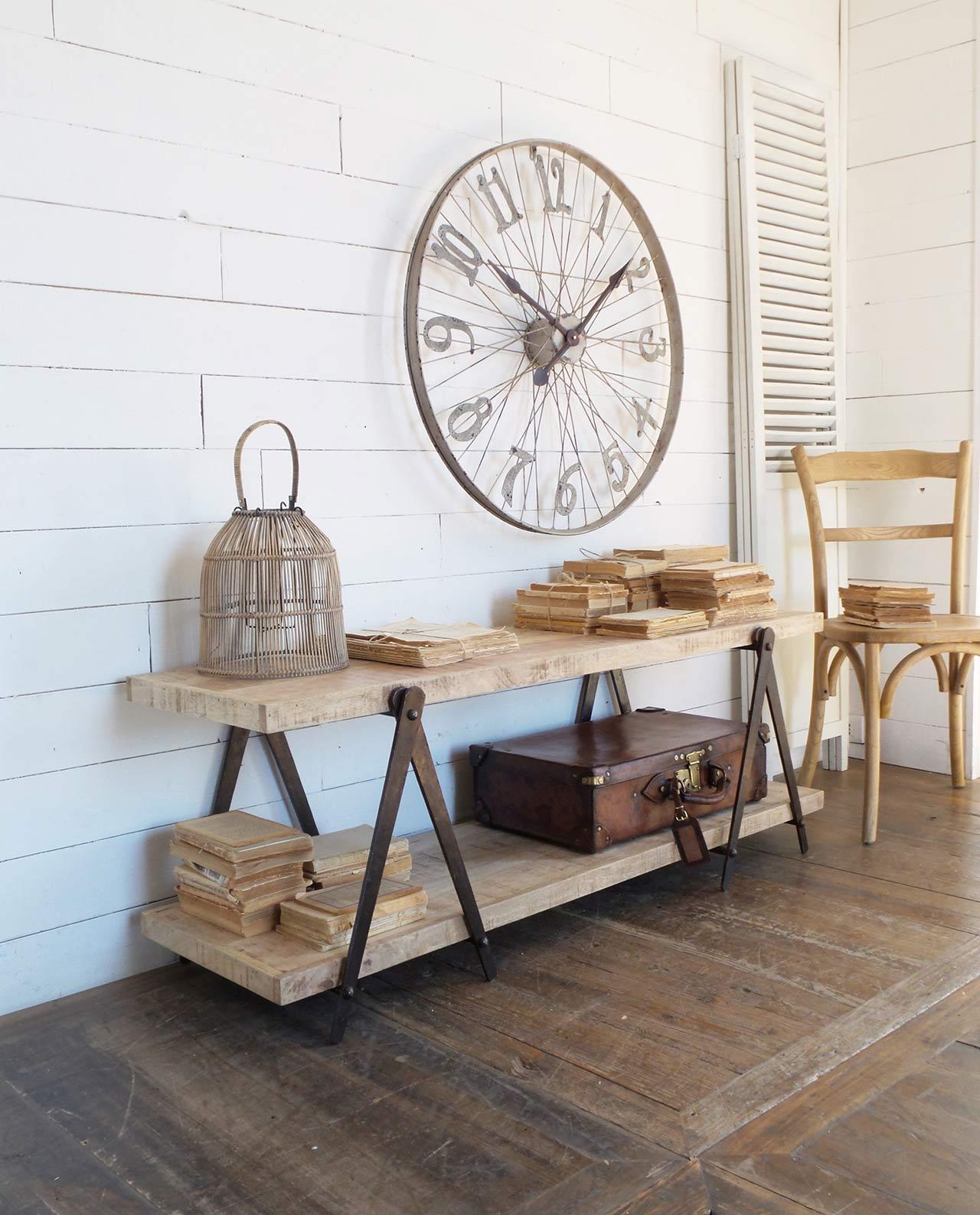 Mobile tv in legno naturale e ferro stile industrial mobilia store home favours - Mobili legno naturale ...
