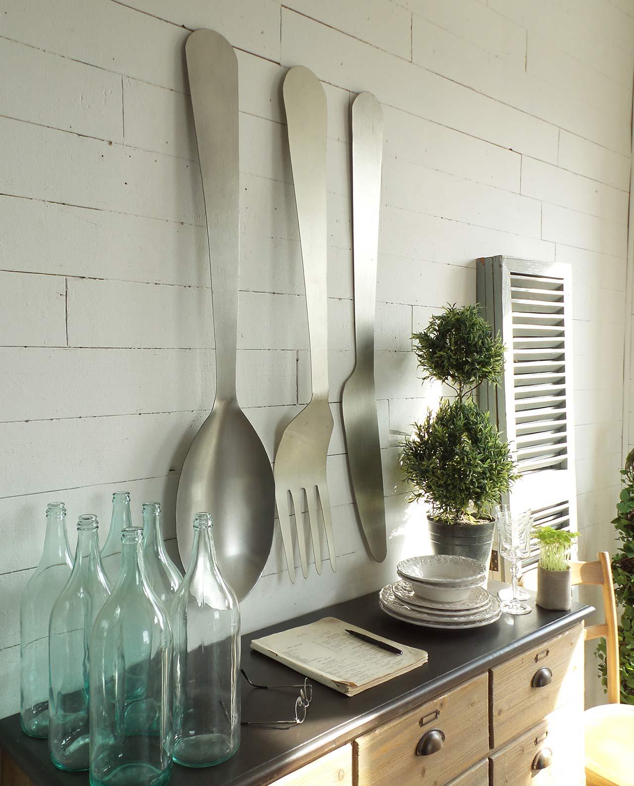 Pannello decorativo da parete posate in metallo set 3 pz - Pannello decorativo parete ...