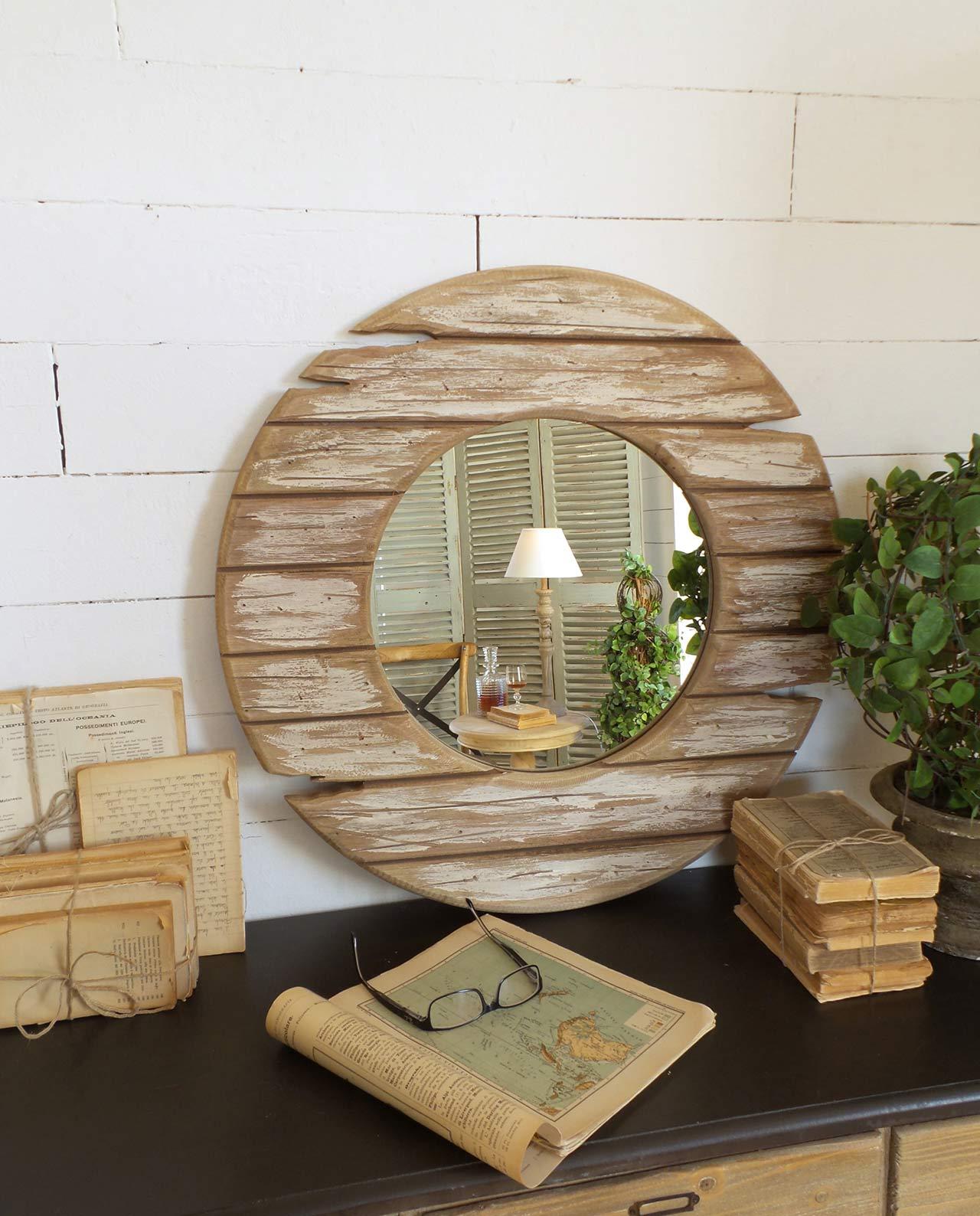 Specchio Rotondo Cornice In Legno Vintage Mobilia Store