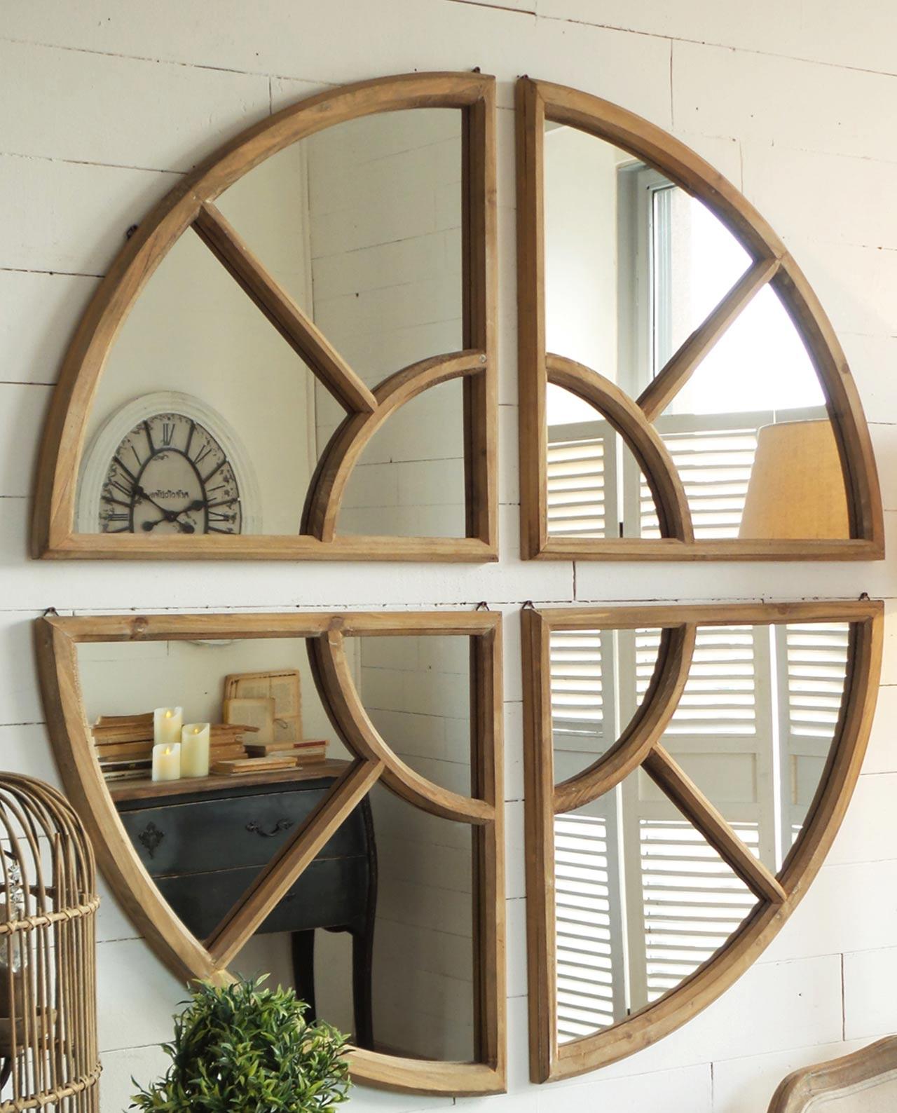 Specchiera rotonda in legno naturale stile vintage - Specchio rotondo ...
