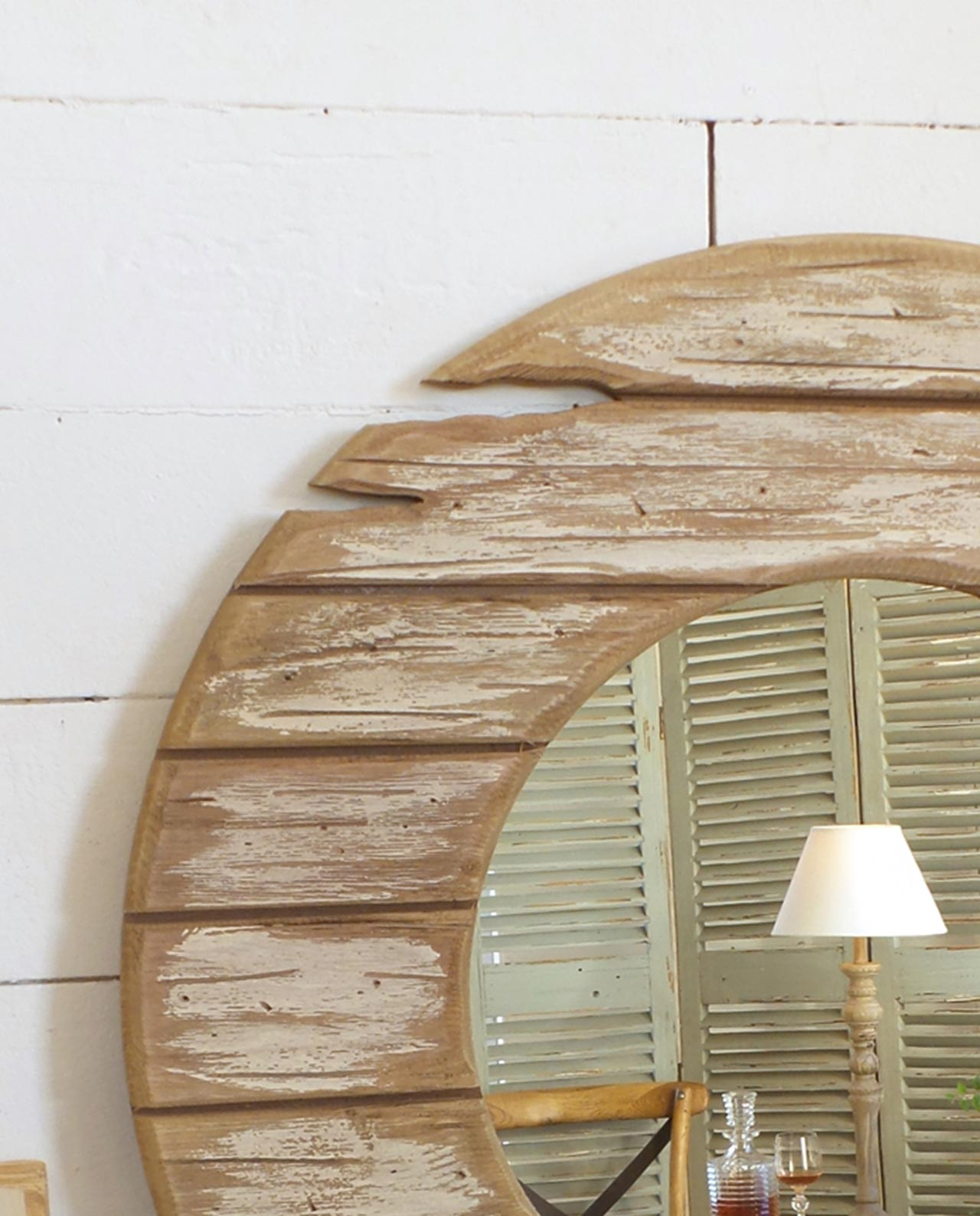Specchio rotondo cornice in legno vintage mobilia store - Specchio in legno ...