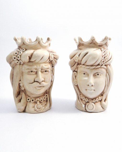 arredamento casa teste di moro con corona ceramica di caltagirone