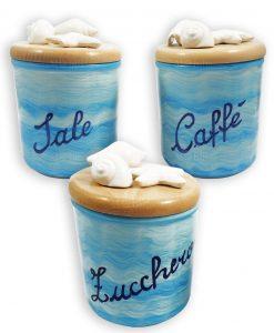 barattoli in ceramica azzurra con tappo ermetico sale zucchero e caffè