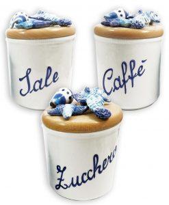 barattoli in ceramica tema mare sale zucchero e caffè