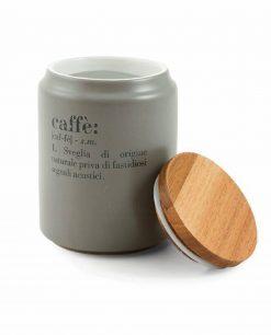barattolo caffè in gres con coperchio in bamboo villa deste