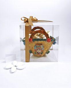 bomboniera borsa coffa siciliana in ceramica di caltagirone dipinta a mano