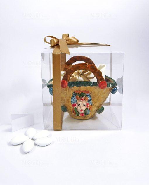 bomboniera borsa coffa siciliana in ceramica di caltagirone regina dipinta a mano