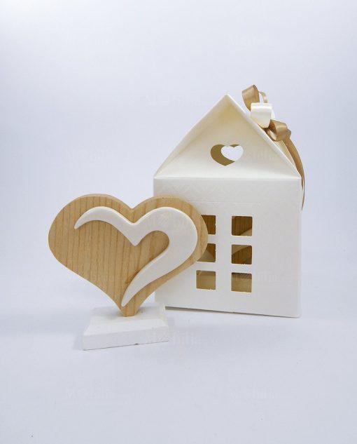 bomboniera cuore bicolore legno naturale