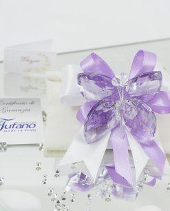 bomboniera farfalla tufano cristallo su sacchetto bustina avorio con fiocco bianco e lilla
