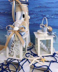 bomboniera lanterna albero della vita metallo bianco con confetti nastri e conchiglia naturale