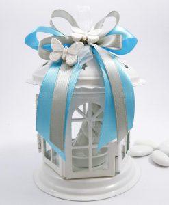 bomboniera lanterna pagoda con farfalle in gesso
