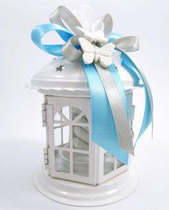 bomboniera lanterna portacandela in metallo confezionata con farfalle