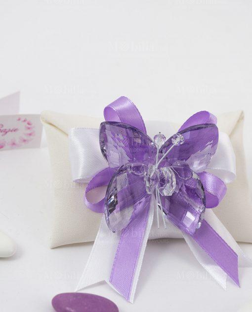 bomboniera sacchettino portaconfetti bustina con farfalla cristallo tufano