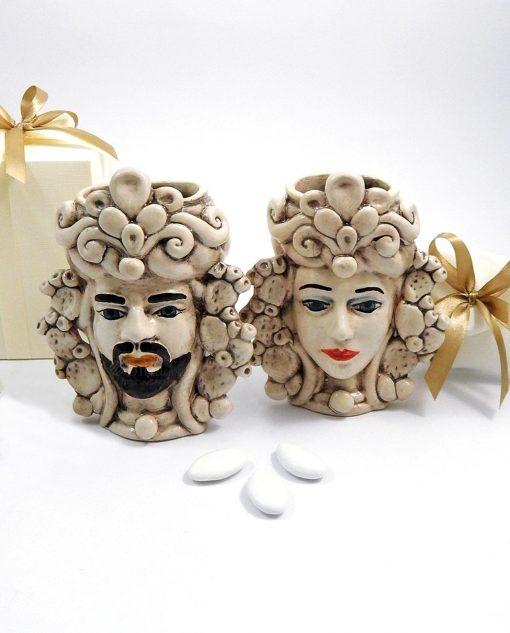 bomboniere matrimonio artigianali teste di moro antichizzate re e regina