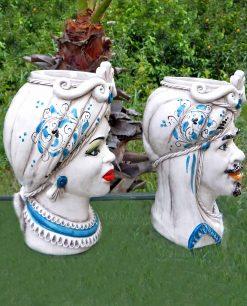 ceramica di caltagirone teste di moro dettagli blu