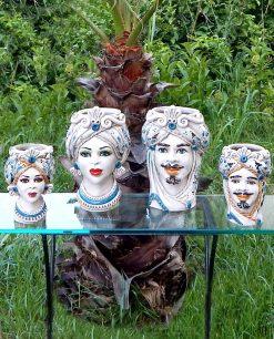 ceramica di caltagirone teste di moro re e regina decori blu