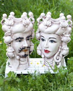 ceramiche di caltagirone teste di moro re e regina antichizzate con limoni