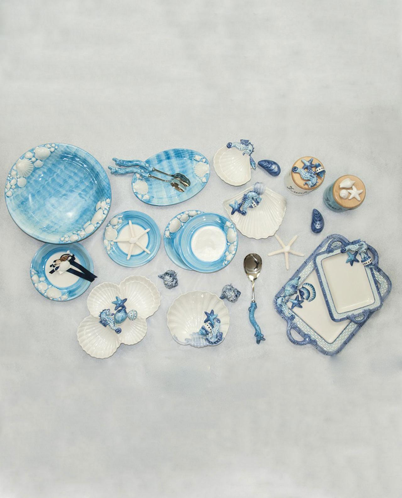 Barattoli tema mare in ceramica azzurra set 3 mobilia - Tavola azzurra 3 ...