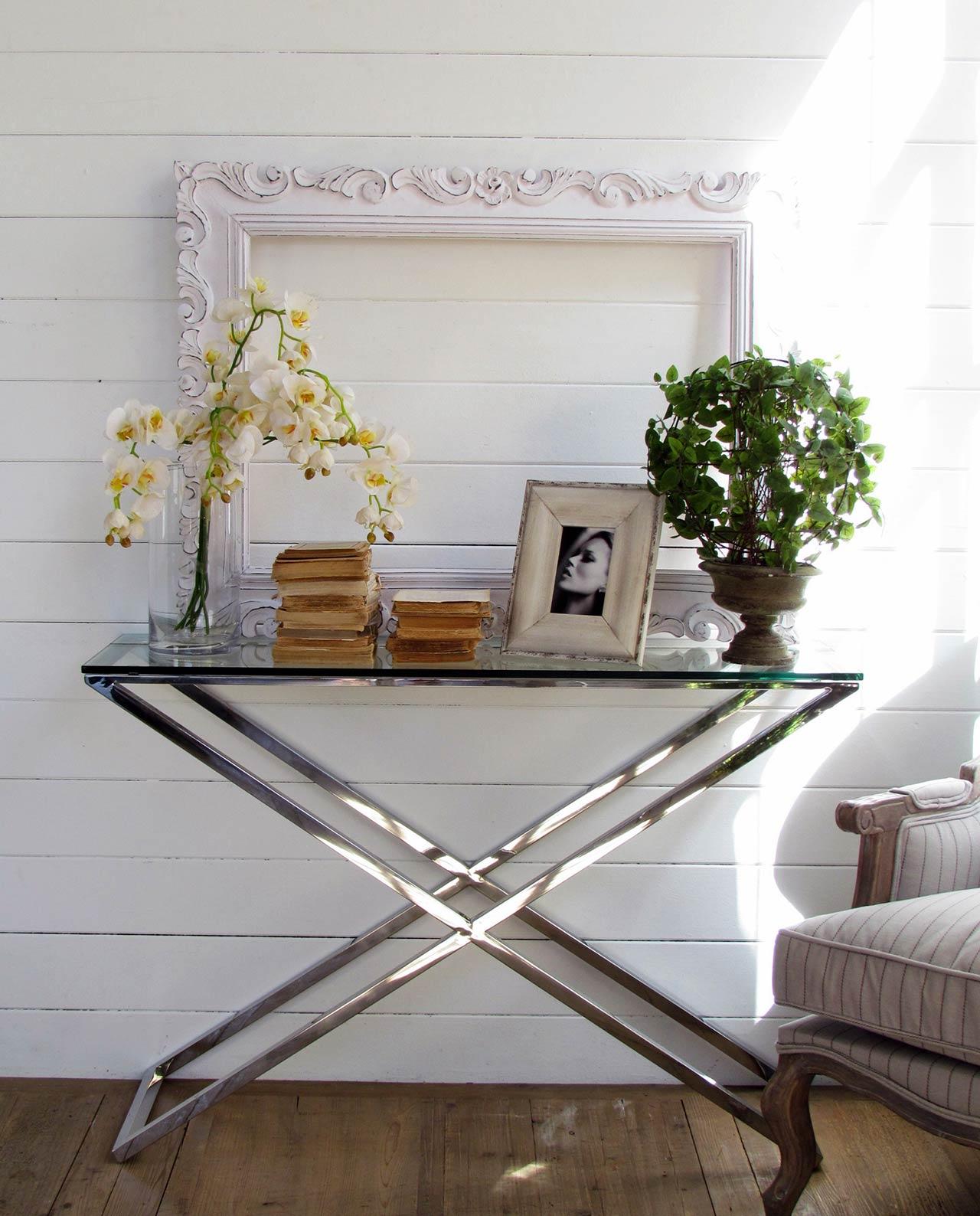 Consolle manhattan in vetro e acciaio moderna mobilia for Consolle in vetro