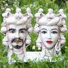 coppia teste di moro con limoni ceramica di caltagirone