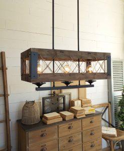 lampadario legno e metallo 3 luci