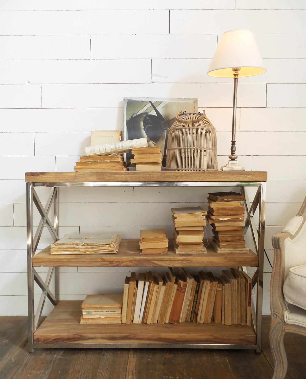 libreria bassa a 3 ripiani legno e acciaio mobilia store