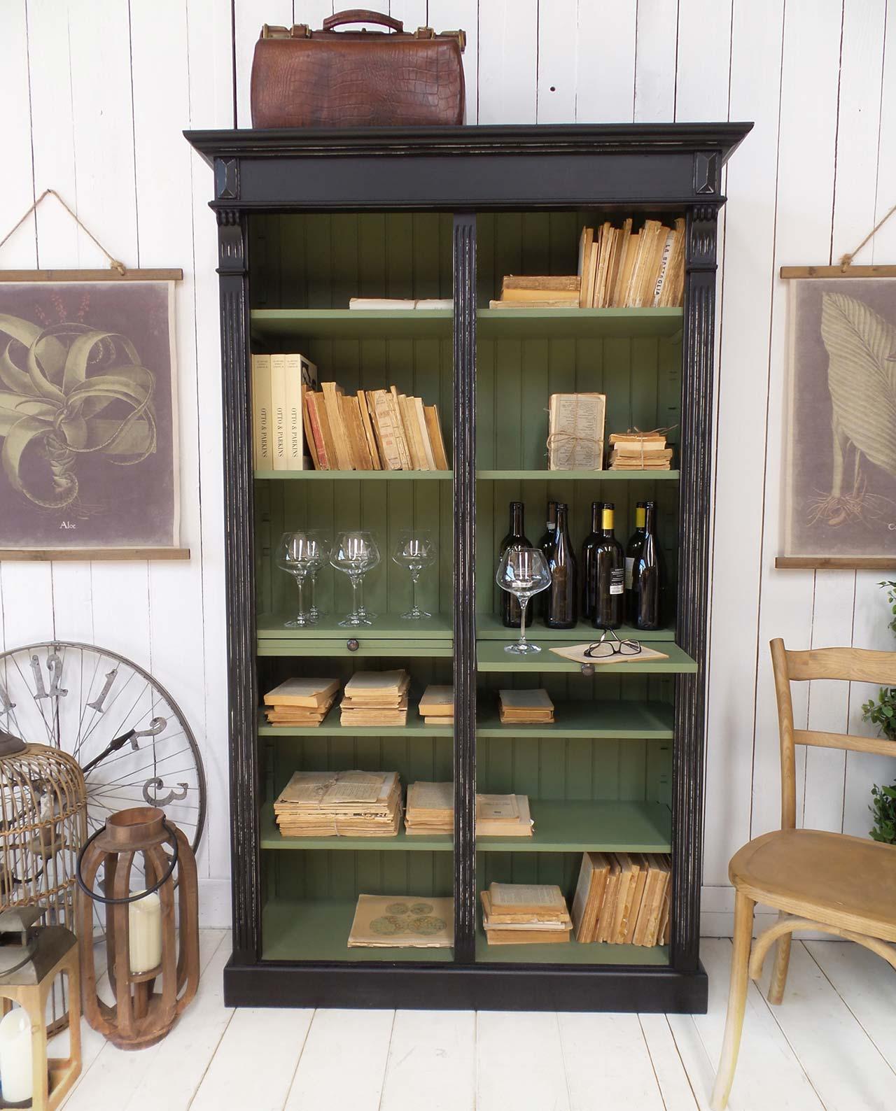 Libreria midtown park in legno nero anticato e verde mobilia store home favours - Libreria verde ...