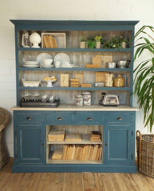 mobile da cucina in legno blu anticato