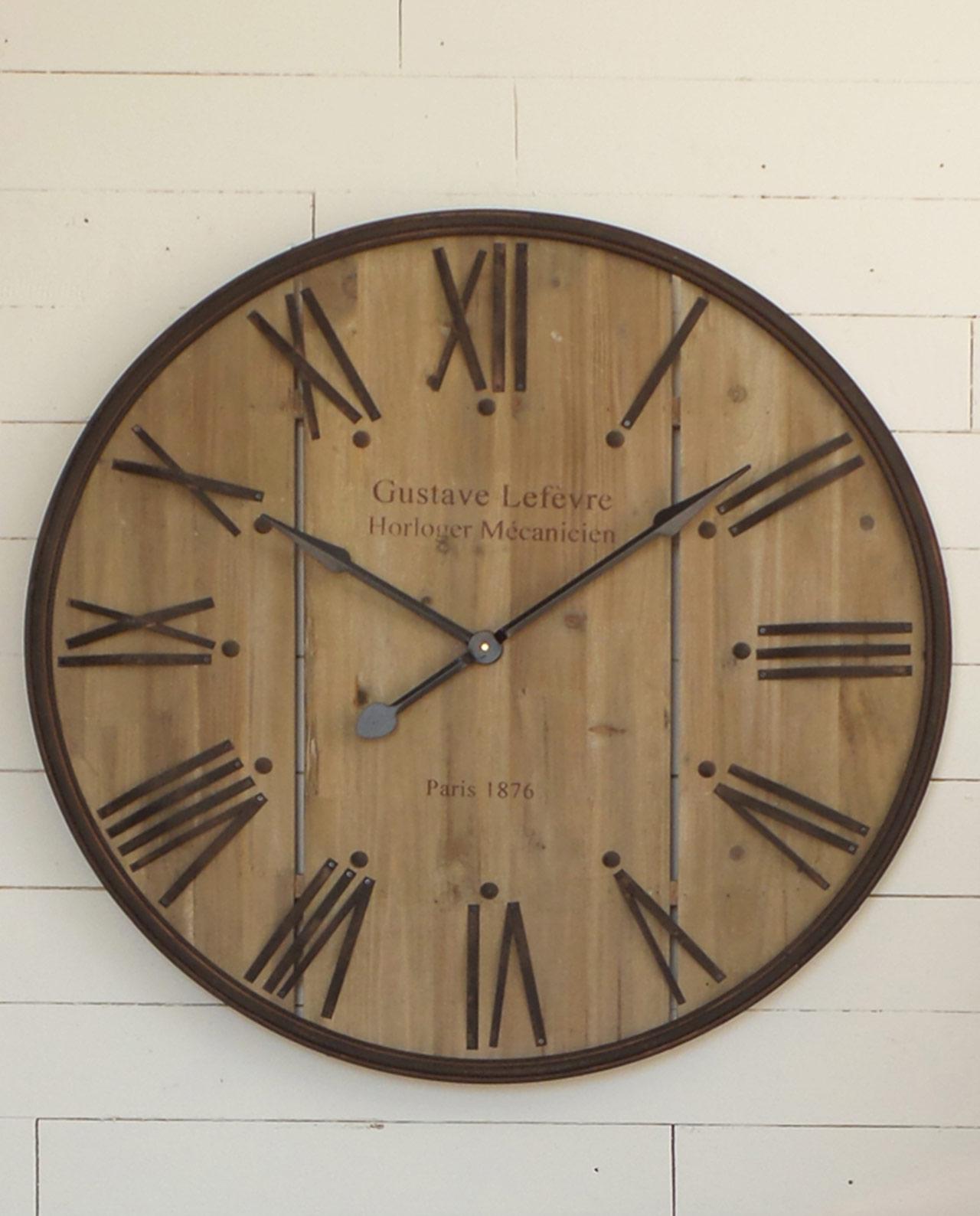 Orologio da parete rotondo in legno e ferro