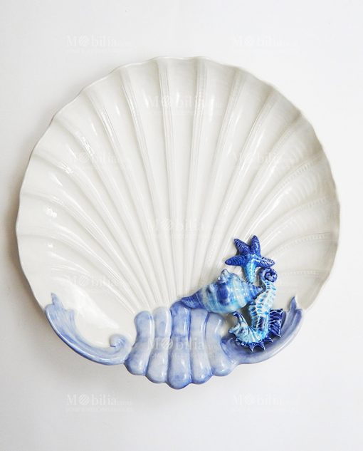 piatto grande conchiglia con decori blu 2