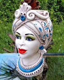 regina testa di moro in ceramica artistica di caltagirone