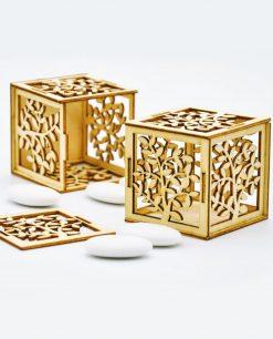 scatola portaconfetti albero della vita in legno
