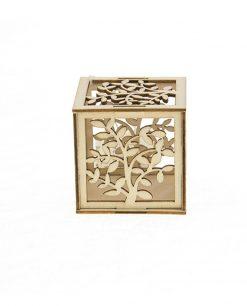 scatola portaconfetti con albero legno